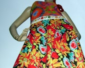 Bright Hippie Sundress Upcycled Tie Dye and Floral Swing Dress M L XL XXL