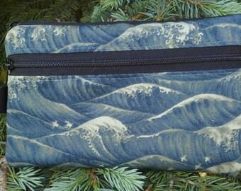 Japanese mini wallet, purse organizer, wristlet, birds and waves, Sweet Pea