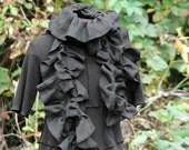 SALE black ruffled linen schminth scarf