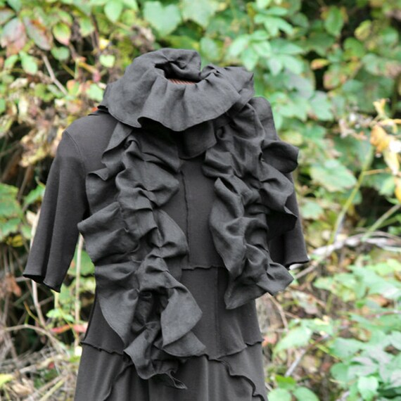 SALE black ruffled linen schminth scarf