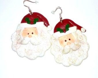 Santa Claus Glitter Earrings   Stocking Stuffers    Secret Santa