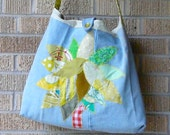 SALE Upcycled Tote or Market Bag Lemon and Lime Tree SALE