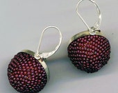 Delicious Domed Earrings . Garnet Burgundy Raspberry . Beaded Bead Earrings .Sterling Silver Cups - Elegant Soiree by enchantedbeads on Etsy