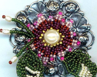 Silver Lilly Pad Wreath Pendant . Beaded Flower& Leaves . Garnet Beadwoven Flower. Genuine Pearl  - Garden Splendor by enchantedbeads on Ets