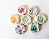 Set of 7 Pretty Hand Made Tiles Tie Dye Swirl