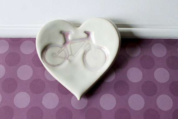 Clay Heart Ring Dish // Pink Bicycle Imprint