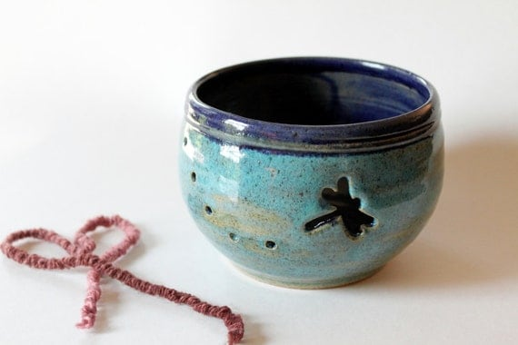 Yarn Bowl with Dragon Fly Cutout   Turquoise and Blue Stoneware Bowl Wheel thrown