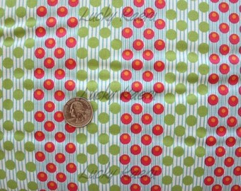 SALE/CLEARANCE Andover, Kathy Hall, Dilly Dally, Dot Stripe Green Fabric - By the Yard