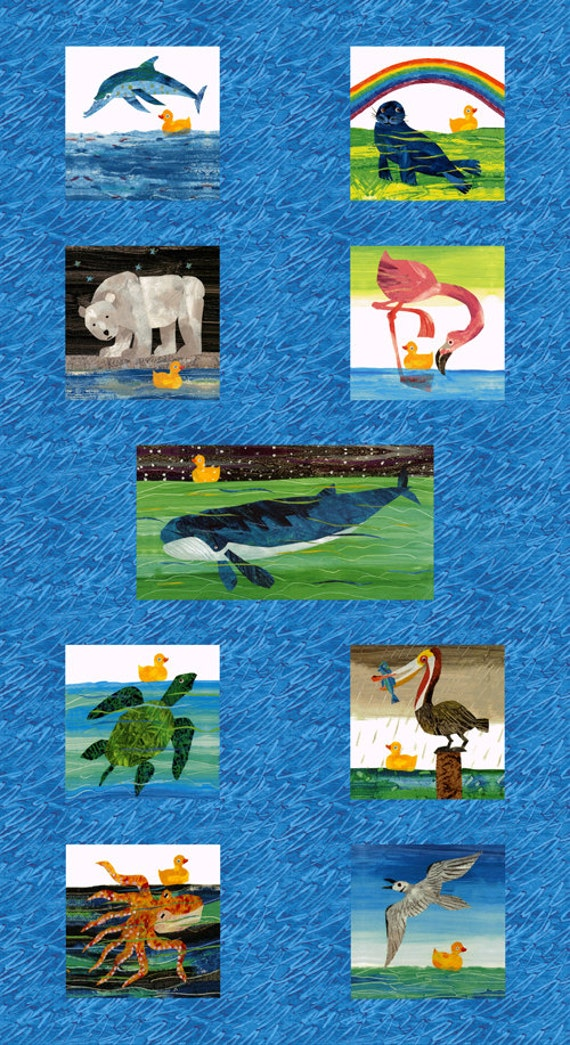 Eric Carle, 10 Little Rubber Ducks, Animal Multi Panel Fabric - By the Panel