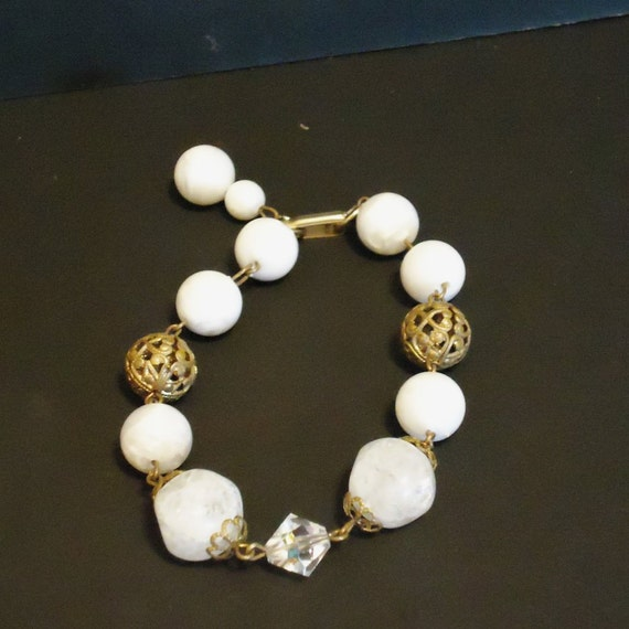 HOLD for Louise Vintage Bracelet White and Gold