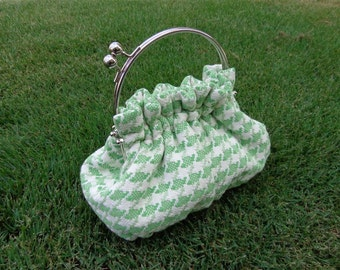 Purse in Green and Off White Woven Houndstooth and 6 Inch Frame