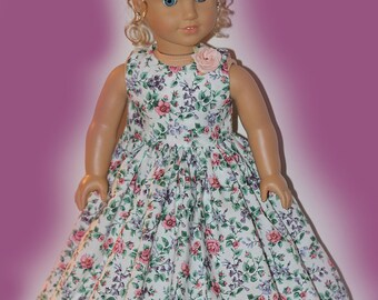 Handmade Floral Dress - 18 Inch Doll dress fits American Girl Doll