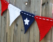Crochet Pattern for Making a Patriotic Banner Flag Decoration Wall Hanging Fourth of July Memorial Day Instant Download