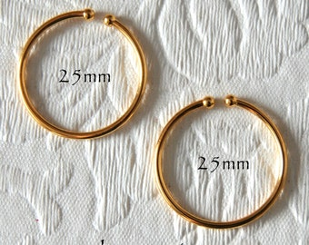 Hoop Earrings 25mm Non-Pierced Gold Plated Brass - 1 pair