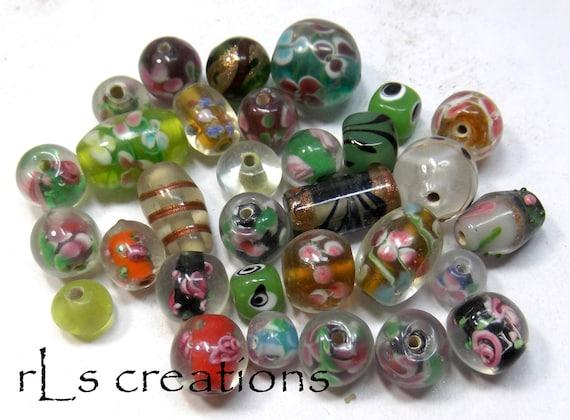Lampwork Glass Bead Mix - Flowers