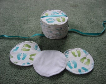 Reusable, cotton, hemp and microfleece breastfeeding/nursing pads - set of 20