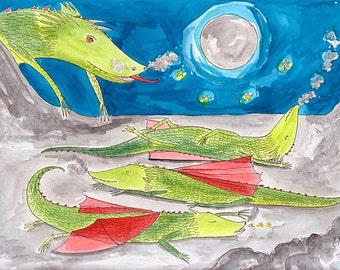 original sleeping dragon illustration