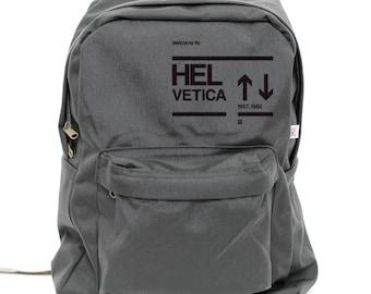 Backpack: Helvetica, Rucksack, Typography, School Bag, Hipster Backpack, Nylon Backpack, College Backpack, Mens Backpack, Womens Backpack