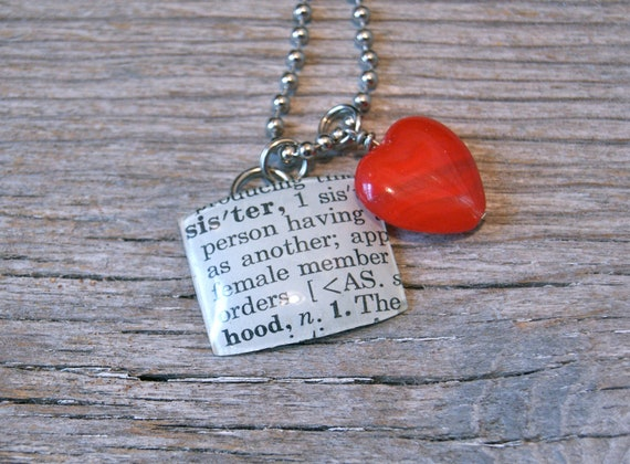Sister - Altered Vintage Glass Watch Crystal Pendant Necklace - Recycled Upcycled - Ready To Ship