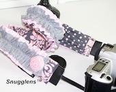 DSLR camera strap padded -expandable lens cap pkt-pink-gray-damask-dots-double ruffles-rosettes--Snugglens