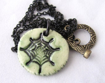 SALE Spider Web Necklace Ceramic Necklace Green Necklace Black Chain Halloween Necklace Gifts for Horror Lovers Gifts for Halloween