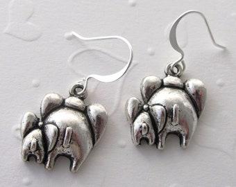 Elephant Butt Mother and Baby Pierced Earrings Elephant Earrings Butt Earrings Animal Earrings Family Earrings Gift Idea for Girlfriends