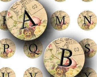 INSTANT DOWNLOAD Vintage Letter Romantic Flower Alphabet Digital Images Collage Sheet One 1 Inch Circles for Pendants Magnets Crafts (C146)