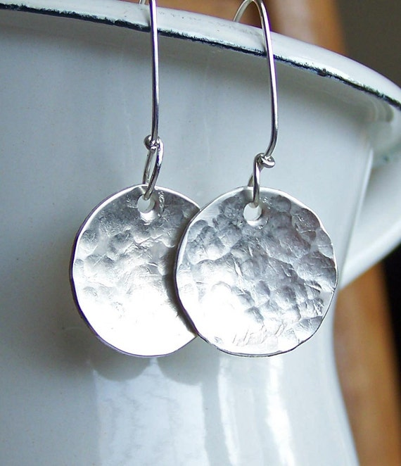 Hand Hammered Silver Filled Disc Earrings, Hammered Earrings, Silver Discs, Jewelry, Gift, Etsy, Etsy Jewelry, Silver Earrings