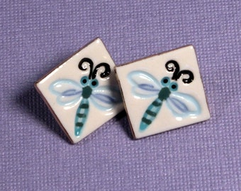 Dragonfly Earrings Handmade Porcelain Ceramic Jewelry