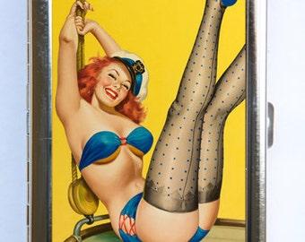 Pin up pinup Sailor Cigarette Case Wallet Business Card Holder retro rockabilly