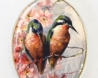 Love Birds  necklace LARGE 40X30mm Glass domed pendant bird flowers blossoms