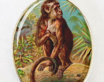 Monkey necklace LARGE 40X30mm Glass domed pendant