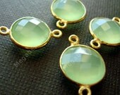 2 pcs 10mm Gold Bezel Gemstone Connector Green Chalcedony 2 loops F391