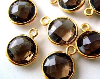 4 pcs 8mm Brown Smoky Quartz Gold Bezel Gemstone Charm F383
