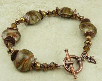 Autumn Leaves > Lampwork Bead Swarovski Crystal and Pearl Bracelet - Fall Brown Gold Orange Copper Mabon Earth - I ship Internationally