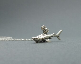 sterling silver shark necklace   charm necklace   gift for her