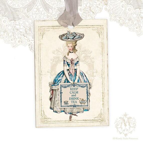 Marie Antoinette gift tags, Keep Calm and Drink Tea, High Tea, Teapot, Teacup, French Tags, Shower Tea