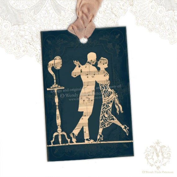 Gift Tags, Valentine, Art Deco, 1920s Flapper Silhouette, Couple Dancing, French, Gramaphone, Vintage Music sheet, Romance D'Automne