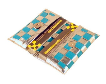 Duct Tape Card Wallet - Chrome & Teal