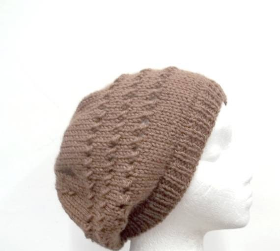 Knitted  Beanie Toffee Brown Slouch acrylic Beret Hat  medium 4464
