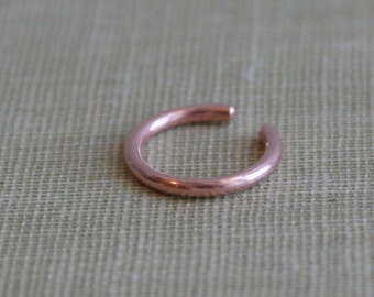 Round Wire Copper Ear Cuff  or Fake Nose Ring Body Jewelry