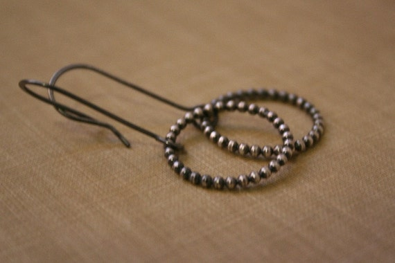 Oxidized Beaded Circle Sterling Silver Earrings