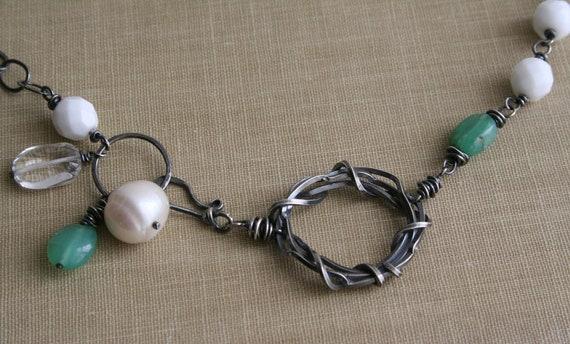 Pearl, Opal, Vintage Glass Nest Sterling Necklace