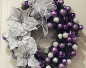 Purple and White Christmas Wreath  Holiday Decor Front Door Decor