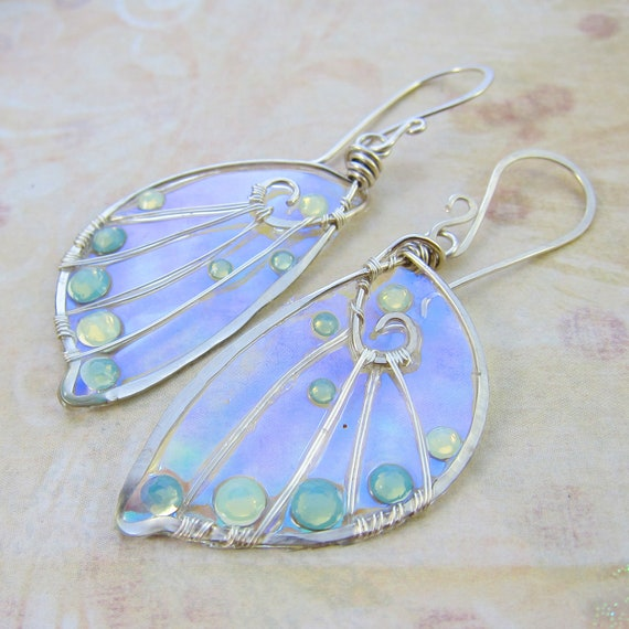 Sidhe Wings Earrings - Opal Fae in Sterling Silver- Iridescent Faery Wings Earrings - Fairy Wings - Faerie Wings