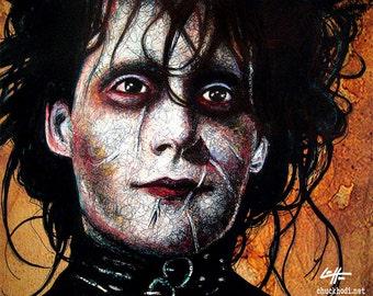 """Print 8x10"""" - Edward Scissorhands - Tim Burton Johnny Depp Horror Pop Art Dark Halloween Leather Fetish Gothic Frankenstein Vintage"""