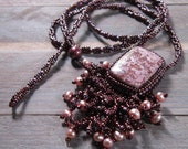Bead embroidered necklace, leopardskin jasper with pearls