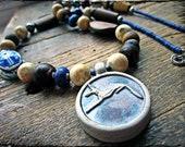 Egyptian necklace, Clay scarab Jackal stoneware pendant Big chunky Mixed media Artisan lampwork glass - Anubis