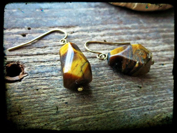 Tiger's eye earrings, Brown faceted stone nugget wire wrapped in brass wire - Tigerlily