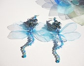 Sky Blue and peacock colour Dragonfly statement earrings